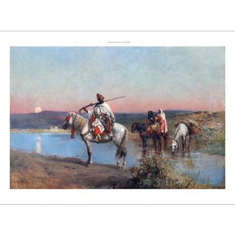 "EDWIN LORD WEEKS ""Fording a Stream"" SUNSET dusk arab horse desert rifle CANVAS"