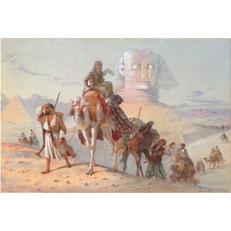 "JOSEPH BENWELL ""Caravan with Pyramids and Sphinx"" EGYPT camel desert NEW CANVAS"