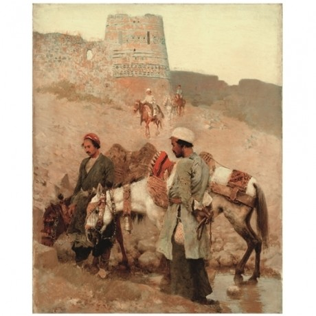 EDWIN LORD WEEKS Traveling in Persia SADDLE arab horse drink desert NEW CANVAS