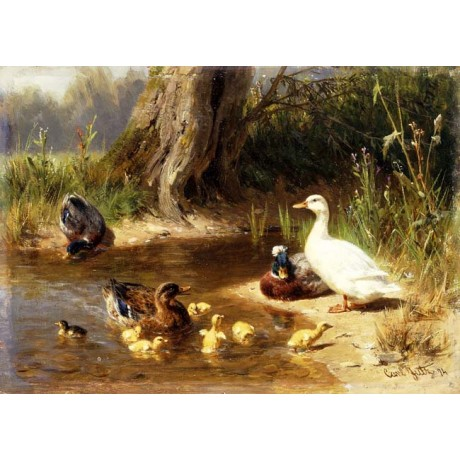 "CARL JUTZ ""Ducks at the Water's Edge"" floating CHICKS riverbank tree NEW CANVAS"