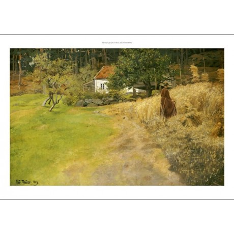 "FRITZ THAULOW ""Haymaking, Stord"" print ON CANVAS choose SIZE, from 55cm up, NEW"
