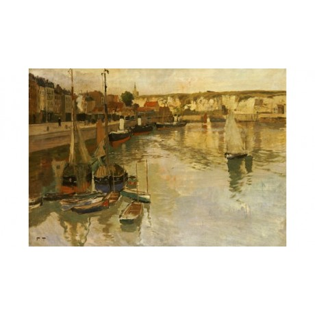 "FRITZ THAULOW ""Dieppe"" print ON CANVAS landscape choose SIZE, from 55cm up, NEW"