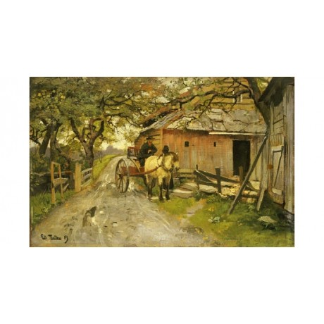 "FRITZ THAULOW ""Friendly Gossips"" landscape PRINT NEW various SIZES available"