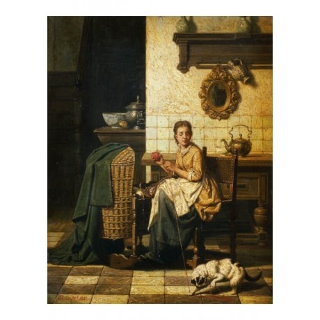"CHARLES JOSEPH GRIPS ""A Playful Cat"" ON CANVAS choose SIZE, from 55cm up, NEW"