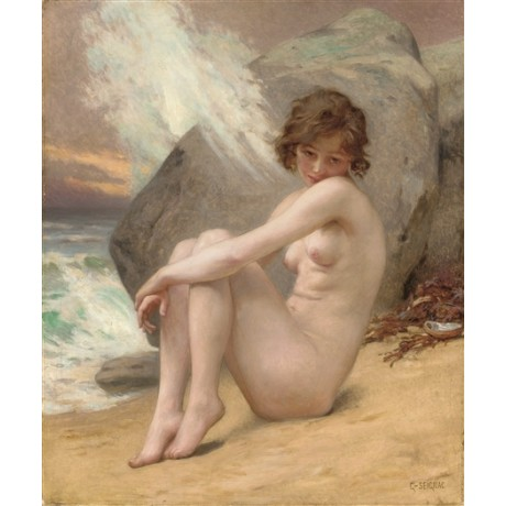 GUILLAUME SEIGNAC Venus Marine pensive NAKED woman on beach with wave crashing