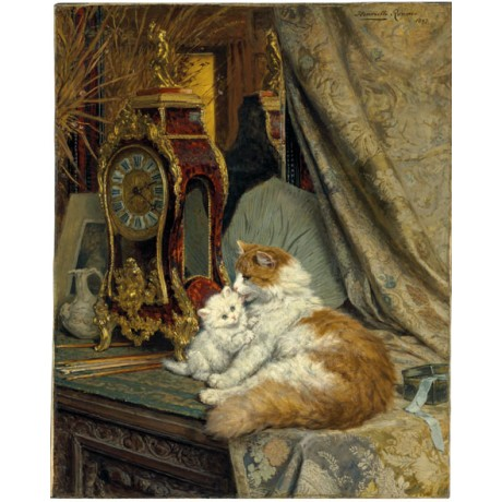 HENRIETTE RONNER-KNIP A Mother Cat and her Kitten with a Bracket Clock CANVAS!