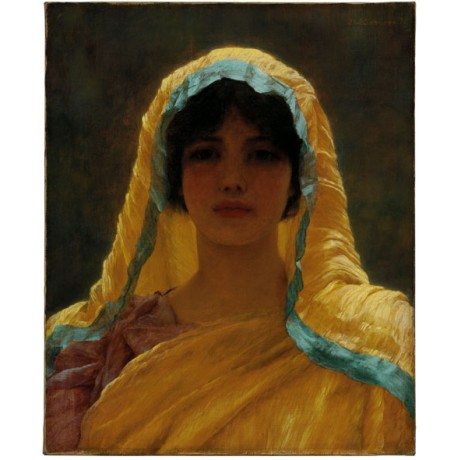 "JOHN WILLIAM GODWARD ""Atalanta"" virgin HUNTRESS myth portrait woman yellow NEW!"