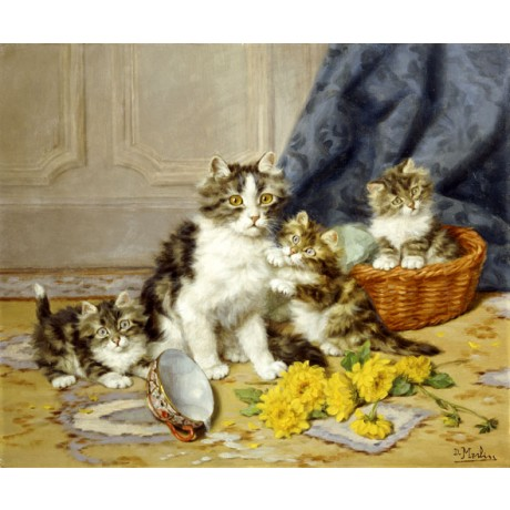 DANIEL MERLIN Playful Kittens family MISCHIEF overturned milk VISIT OUR SHOP!!