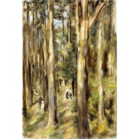 MAX LIEBERMANN Picnic in the Woods woodland ADVENTURE people trees ON CANVAS!!
