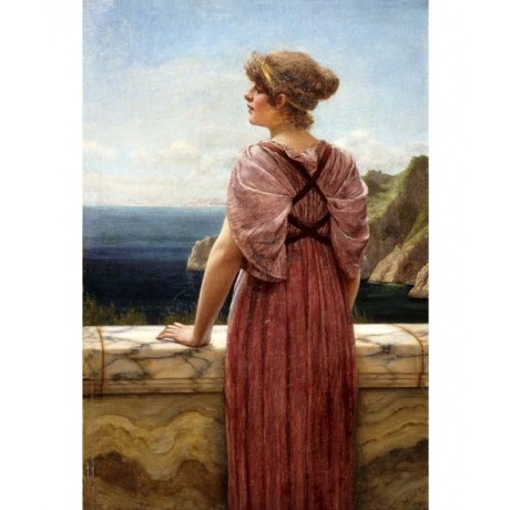 "JOHN WILLIAM GODWARD ""Looking Seaward"" WOMAN standing coastal view CANVAS PRINT"