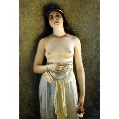 "NONNENBRUCH ""The Odalisque"" slave SEDUCTIVE breast necklace flower CANVAS PRINT"