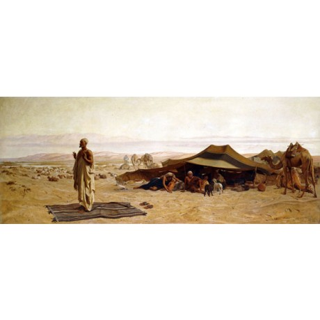 "FREDERICK GOODALL ""Head of the House at Prayer"" FAMILY desert camp CANVAS PRINT"