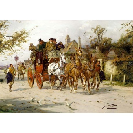 "GEORGE WRIGHT ""The Oxford to London Mail"" STAGECOACH driver horses CANVAS PRINT"