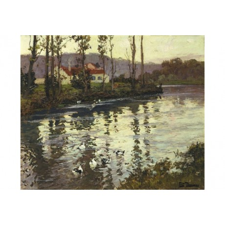 "FRITS THAULOW ""River Landscape With Ducks"" new CANVAS! various SIZES, BRAND NEW"