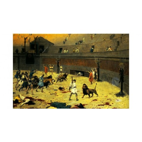 "JEAN LEON GEROME ""Reentry Of Lions Into Arena"" PRINT various SIZES available"