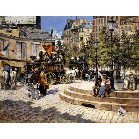 FELIX HILAIRE BUHOT A Busy Paris Square people SUNLIGHT carriage horses CANVAS