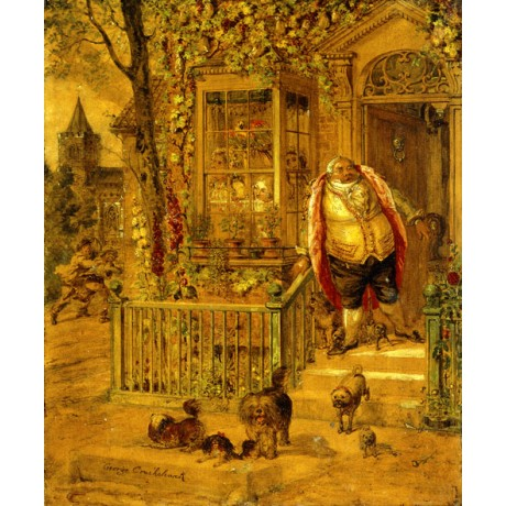 GEORGE CRUIKSHANK A Runaway Knock boys MISCHIEF plump man confused NEW CANVAS!