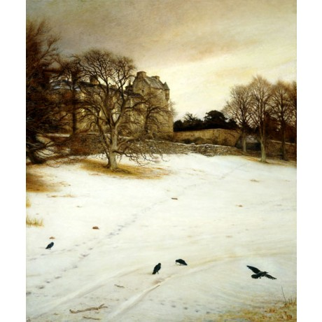 SIR JOHN EVERETT MILLAIS Christmas Eve FOOTPRINTS in snow crows building NEW!!