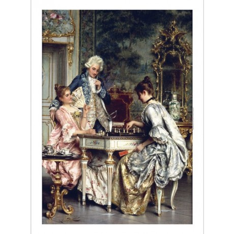 "ARTURO RICCI ""Game Of Chess"" ORNATE waistcoat wig table fan smiles CANVAS PRINT"