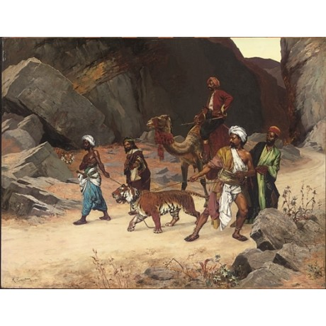 "RUDOLF ERNST ""Return from the Tiger Hunt"" CAPTIVE chains triumph camel CANVAS"
