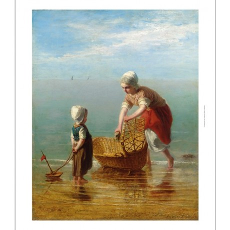 JOZEF ISRAELS Mother and Child by the Sea HORIZON toy boat basket shore CANVAS