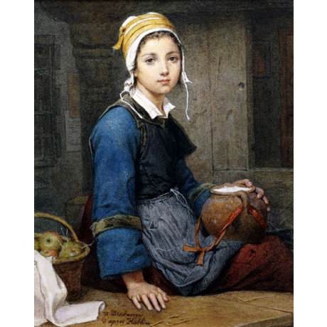 "DESCHANGER ""The Young Milk Maid"" TEENAGE apples pot bonnet apron CANVAS PRINT"