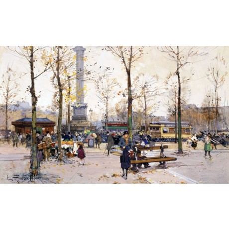 "EUGENE GALIEN-LALOUE ""Place de la Bastille, Paris"" BUSY city monument NEW PRINT"
