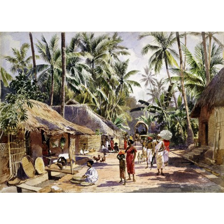 "LUDWIG FISCHER ""Columbo"" tropical TRAVEL community girl straw hut palm CANVAS"