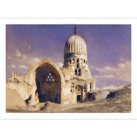 "CARL HAAG ""Tomb Of Sit Chavann"" GRAVE dome mosque ruin blue sky CANVAS PRINT"