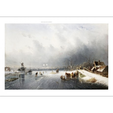"CHARLES LEICKERT ""Skaters In A Frozen Winter Landscape"" various SIZES, BRAND NEW"