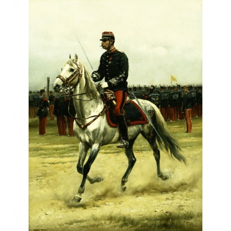 JEAN BAPTISTE DETAILLE A Cavalry Officer Passing Troops TROTTING horseback NEW