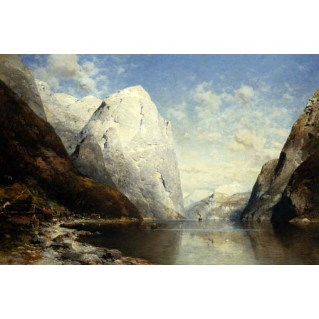 JULIUS ROSE A Norwegian Fjord scenic MAJESTIC nature river rock boat ON CANVAS