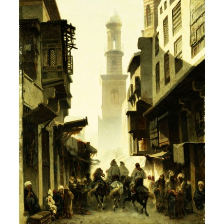 ALBERTO PASINI Street Scene in Damascus sunlight MINARET houses horse dust NEW