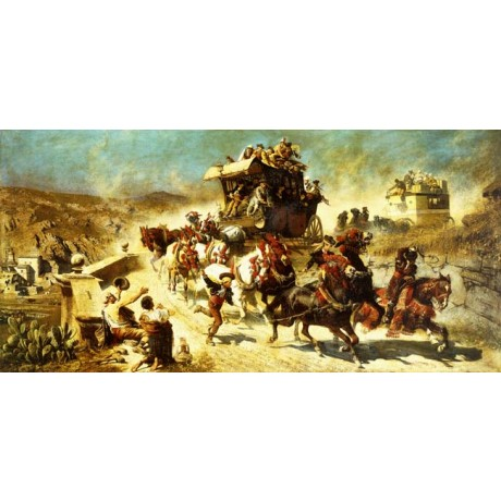 ALEXANDER VON WAGNER The Spanish Mail Coach in Toledo GALLOP welcome ON CANVAS