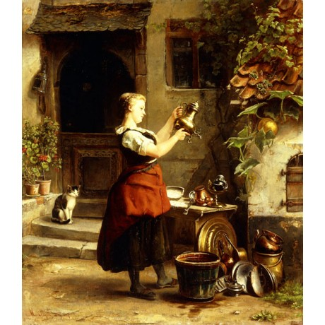 JOHANNES MOESELAGEN The Kitchen Maid's Mirror POLISHING pots pans CANVAS PRINT