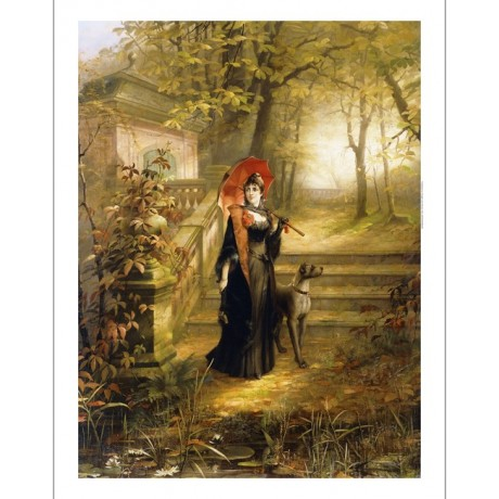 Adam Siepen The Red Parasol woman with dog in gardens by stone steps ON CANVAS