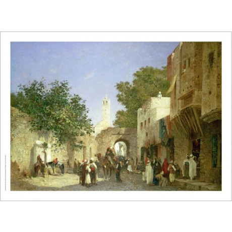 "HONORE BOZE ""An Arab Street Scene"" landscape ON CANVAS various SIZES, BRAND NEW"