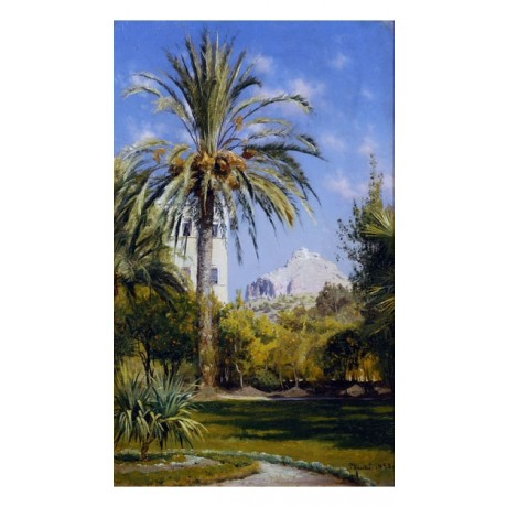PEDER MONSTED Gardens of Royal Palace Lykavitos Hill, Athens PALM new CANVAS!!