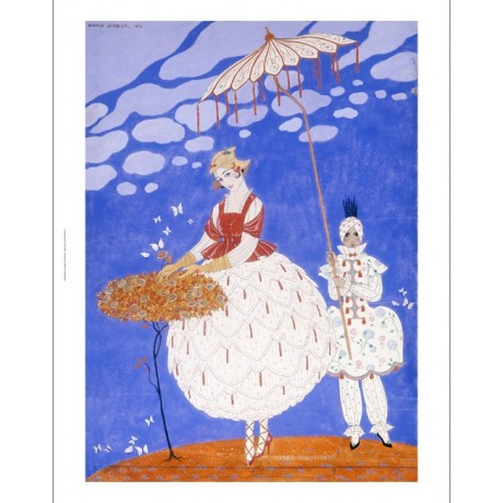 "GEORGES BARBIER ""Roses D'Automne"" print ON CANVAS choose SIZE, from 55cm up, NEW"