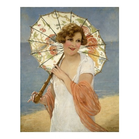 "MARTIN-KAVEL ""The Parasol"" SMILING summer floral beach shade sea CANVAS PRINT"