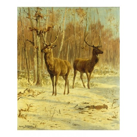 "ROSA BONHEUR ""Two Stags In Clearing In Winter"" WATCHFUL antlers sunlight CANVAS"