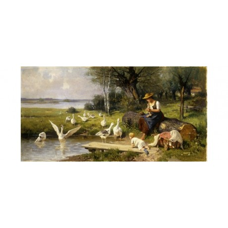 "MEISSNER ""Woman And Geese"" CRAWLING toddler birds pond pushchair mother PRINT"