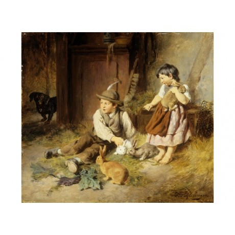 "FELIX SCHLESINGER ""Unwelcome Visitor"" RABBIT dog brother sister stable CANVAS"