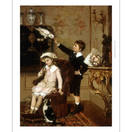"ROOSENBOOM ""Grandmother's Pets"" OPULENCE brother sister parrot cat CANVAS PRINT"