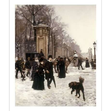 "GAILLARD ""Promenade On Winter Day Brussels"" COUPLE snow dog carriage NEW CANVAS"