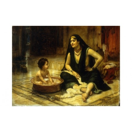 "BRIDGMAN ""Fellahin And Child The Bath"" EGYPTIAN mother peasant NEW CANVAS PRINT"