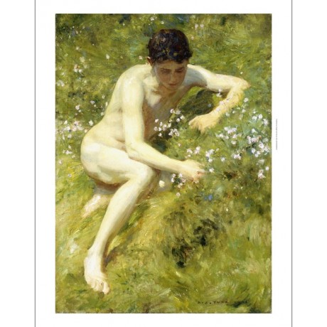 "HENRY S. TUKE ""In The Meadow"" MANHOOD clutching flower boy green summer CANVAS"