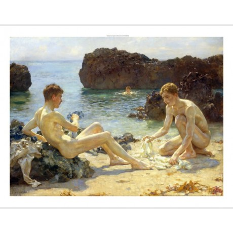 "HENRY S. TUKE ""Sun Bathers"" GAY couple waters edge swimming rock horizon CANVAS"
