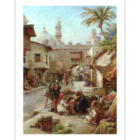 "PAUL PHILIPPOTEAUX ""In the Souk"" fruit MARKET arab scene hijab woman man CANVAS"