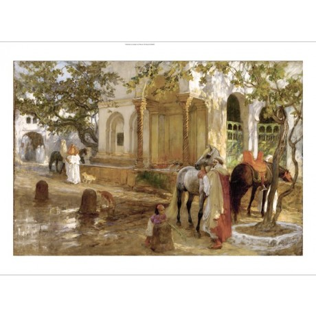 "FREDERICK BRIDGMAN ""At the Fountain"" ARAB horse drink child dogs street CANVAS"